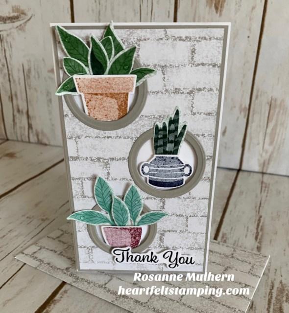 Stampin Up Plentiful Plants Mini Slimline Thank You Card - Rosanne Mulhern stampinup