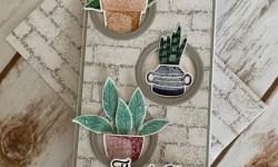 Stampin Up Plentiful Plants Mini Slimline Thank You Card- Rosanne Mulhern stampinup