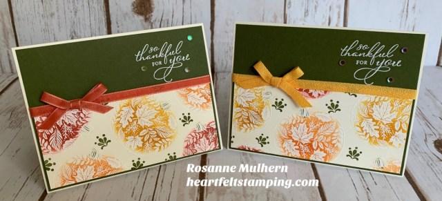 Stampin Up Pretty Pumpkins Thanksgiving Card Idea - Rosanne Mulhern stampinup