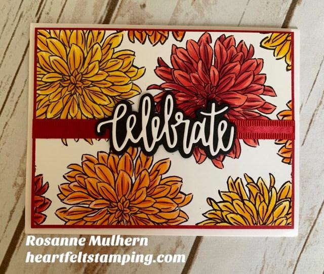Stampin' Up! Delicate Dahlia Celebrate Card -Rosanne Mulhern