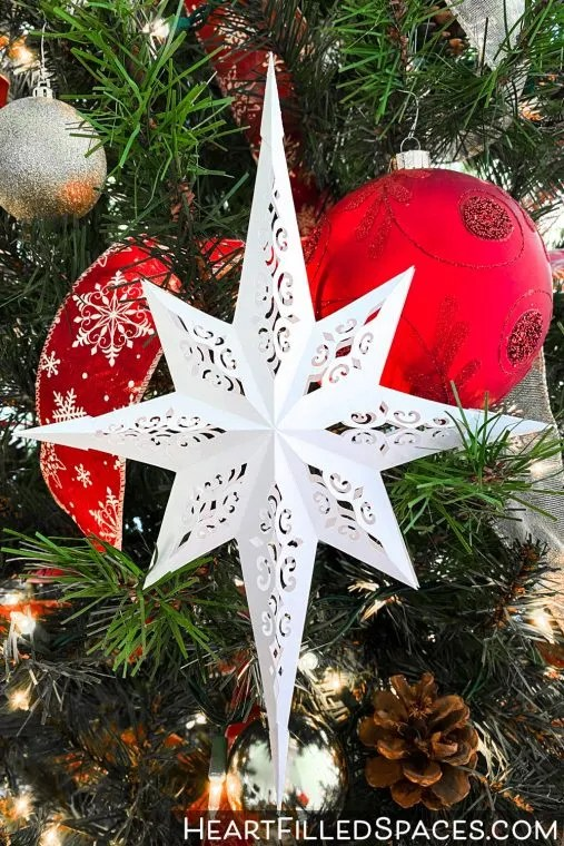Christmas star svg & png for download   transparent background   personal & commercial use   edit christmas star colors online   also in eps or psd. Easy Paper Christmas Star With Free Svg And Pdf Templates Heart Filled Spaces