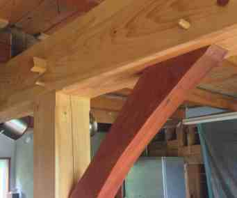 Timbered interior accents featuring cherry braces