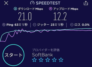 「Speedtest」アプリでの縛りなしWiFiのスピードテスト