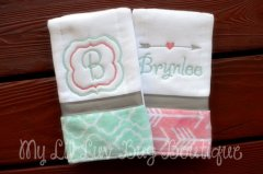 Burp Cloth Set Personalized baby gift
