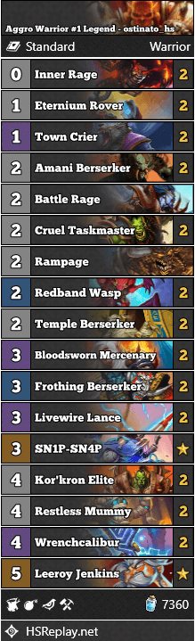 Aggro Warrior #1 Legend - ostinato_hs
