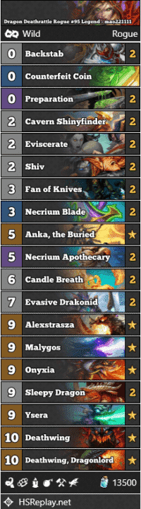 Dragon Deathrattle Rogue #95 Legend - mao221111
