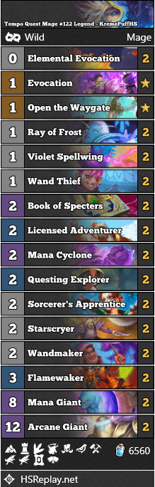 Tempo Quest Mage #122 Legend - KremePuffHS