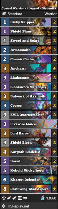 Control Warrior #1 Legend - GladenHS