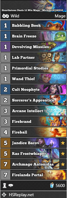 Hearthstone Duels 12 Win Mage - Michael30346910