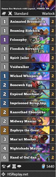Demon Zoo Warlock #100 Legend - PIONER_HS