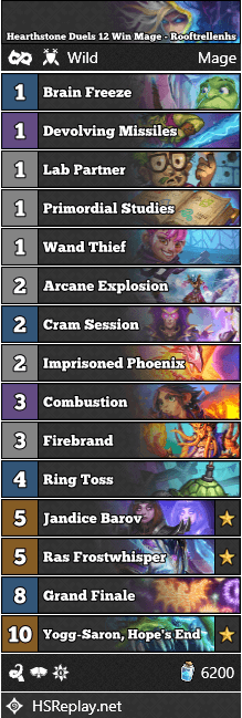 Hearthstone Duels 12 Win Mage - Rooftrellenhs