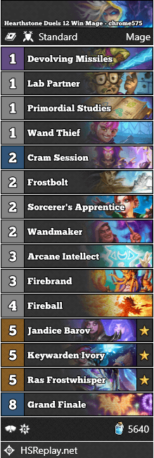 Hearthstone Duels 12 Win Mage - chrome575