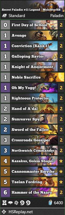 Secret Paladin #11 Legend - MoleStarHS