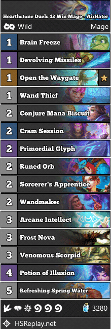 Hearthstone Duels 12 Win Mage - AirHater