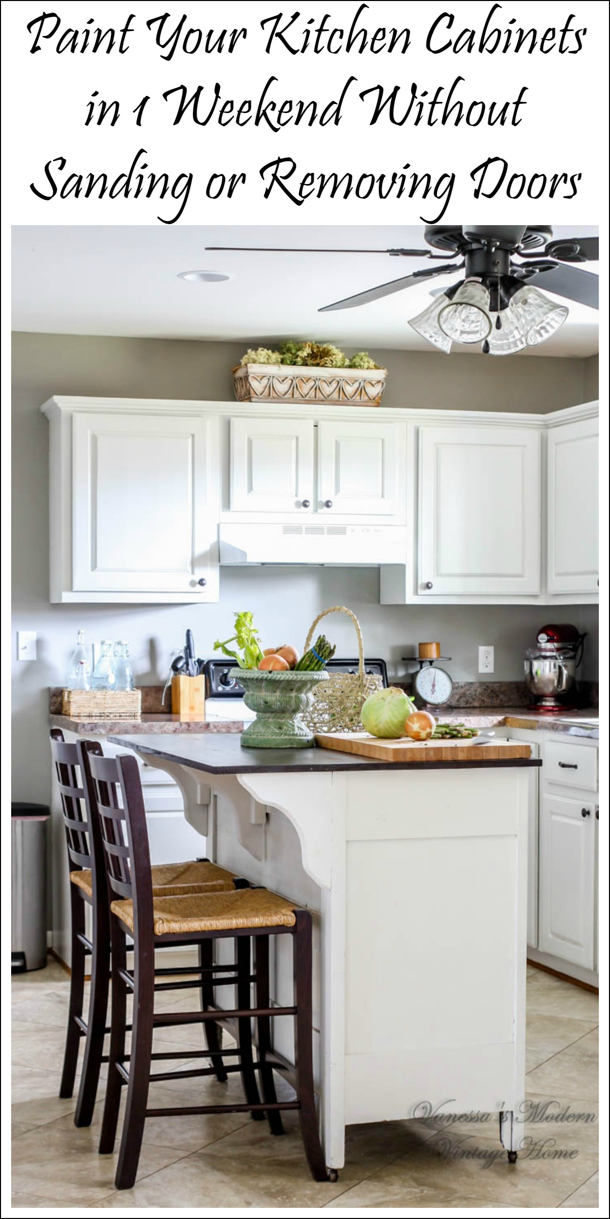 paint kitchen cabinets white in one weekend without ...