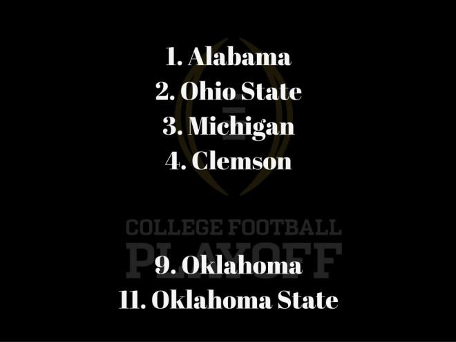 1-alabama2-ohio-state3-michigan4-clemson9-oklahoma11-oklahoma-state