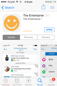 Entertainer App from the App Store