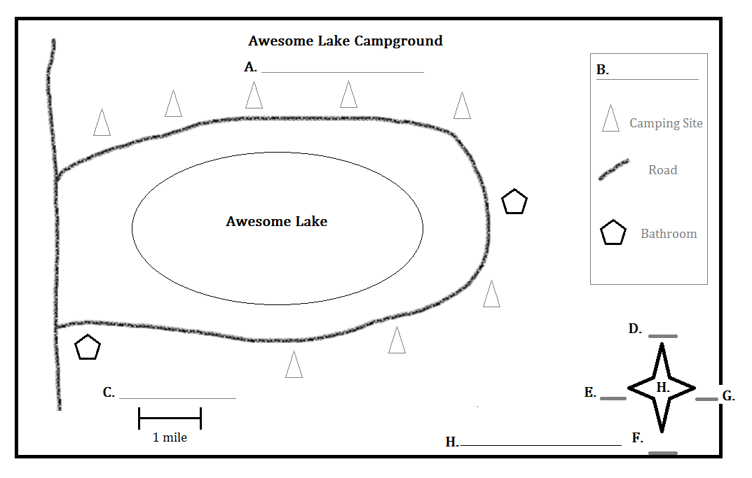 Printables Parts Of A Map Worksheet heartland outdoor school the following is a map of made up campground around an imaginary lake called awesome please label each part map