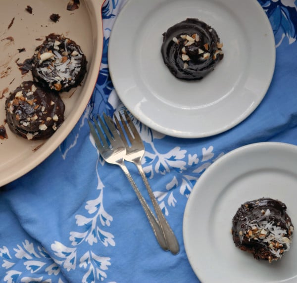 Mini Double Chocolate Almond Cakes with Chocolate Glaze