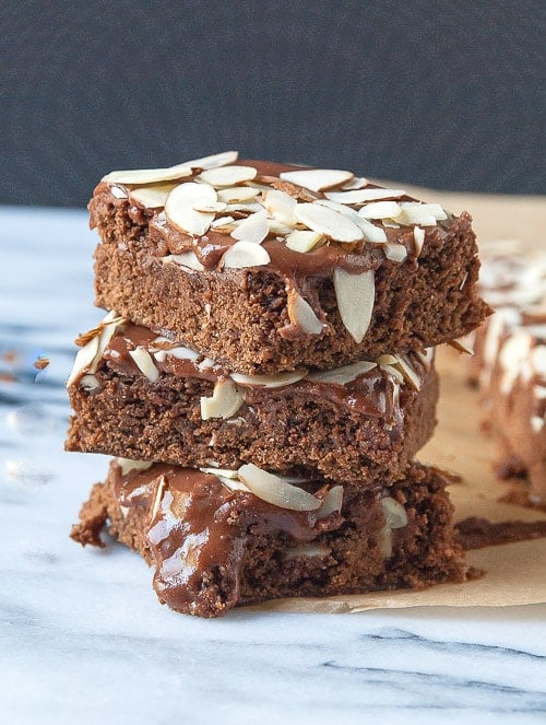Vegan Brownies with Chocolate Almond Frosting