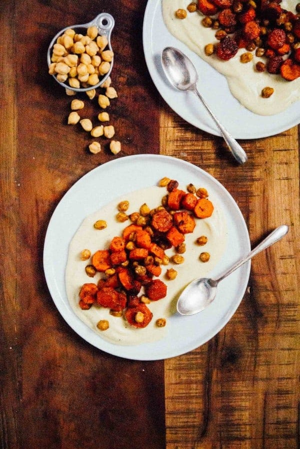 Cumin Roasted Carrots and Chickpeas with Vegan Parsnip Puree- A creamy vegan parsnip puree topped with crunchy roasted chickpeas and cumin roasted carrots, dinner is served!