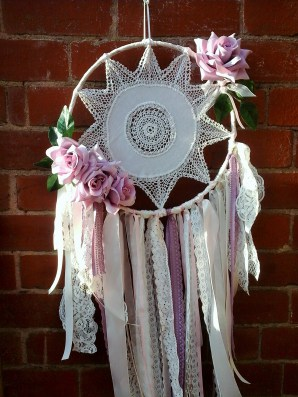 Beautiful dream catcher made from an old pre-loved doily