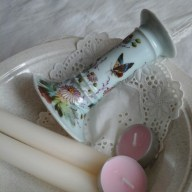 vintage bowl,with lace mat,candles and pretty pre-loved candlestick