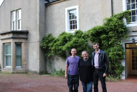 Richard, Heather and Calum with Kinneil House