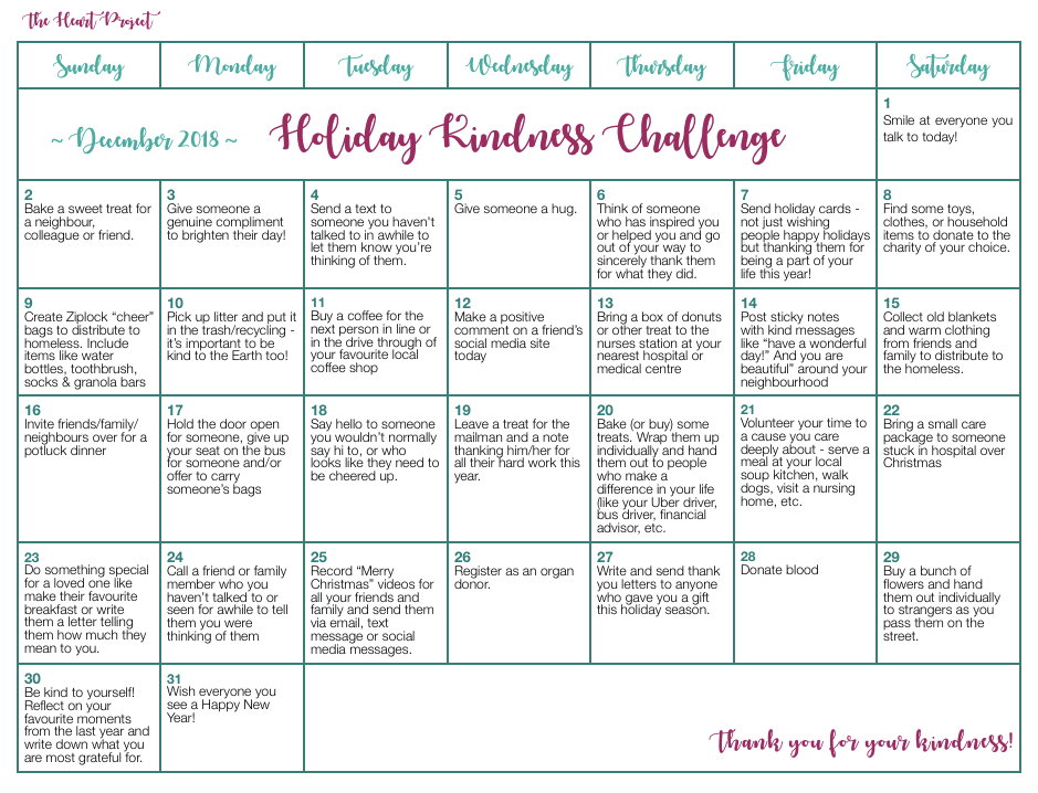 Holiday Kindness Challenge 2018