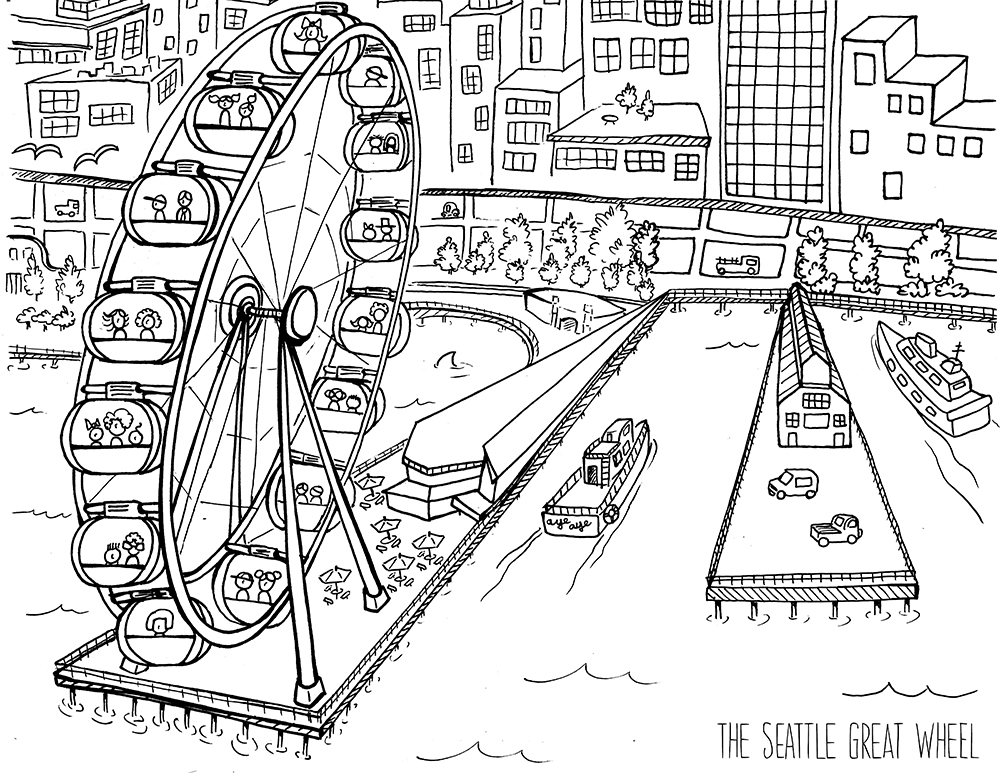 Seattle Space Needle Silhouette Sketch Coloring Page