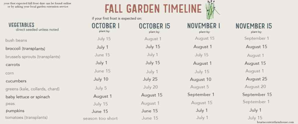graphic showing planting dates for various fall-harvested crops based on first fall frost date