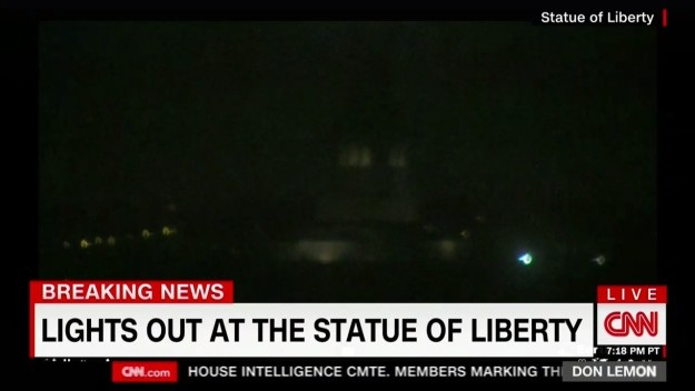 CNN also aired video that Lady Liberty had gone dark. The National Park Service, which manages the national monument, said in a statement it was possibly due to work on a generator.