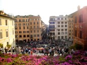 The view FROM the Spanish Steps... I knew, I decided to shake it up a bit. Check out those beautiful flowers and the huge crowd! Love it