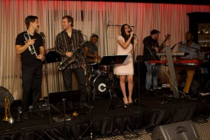 Catie Waters performing with her band