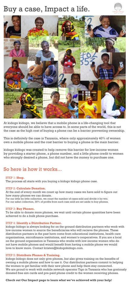 Kidogo Kidogo give-back model