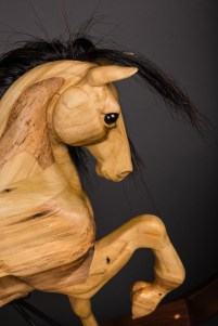 reclaimed poplar rocking horse hand carved real horse hair mane and tail