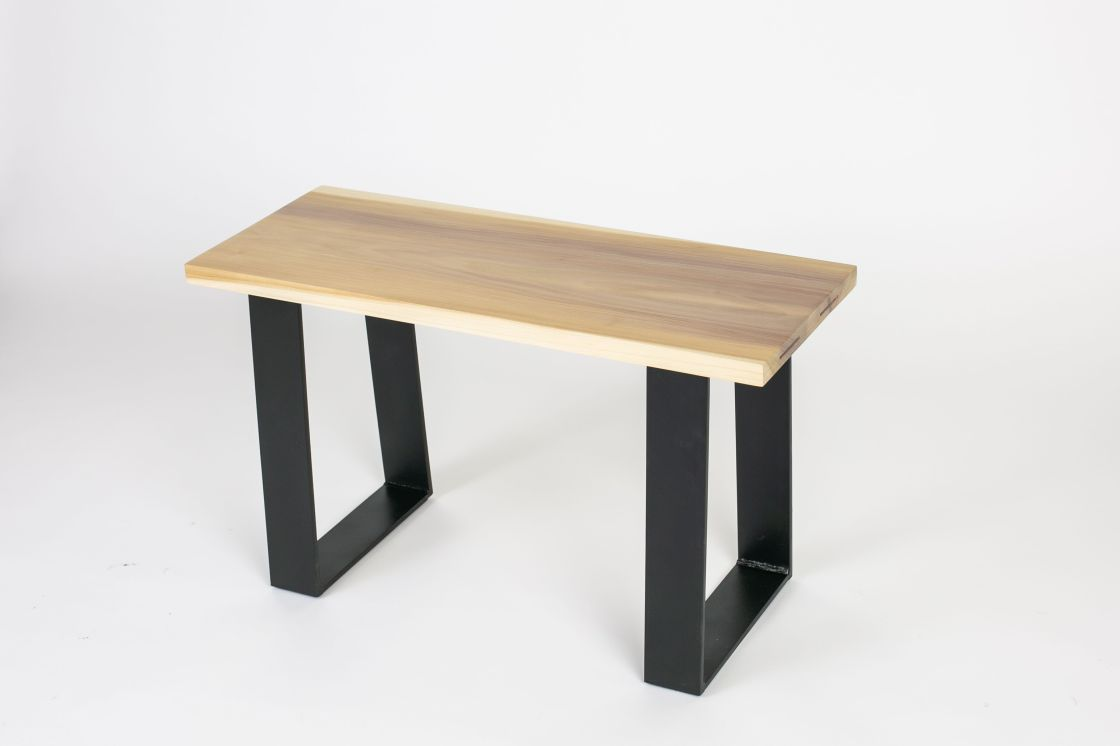 Poplar Bench with Iron Base