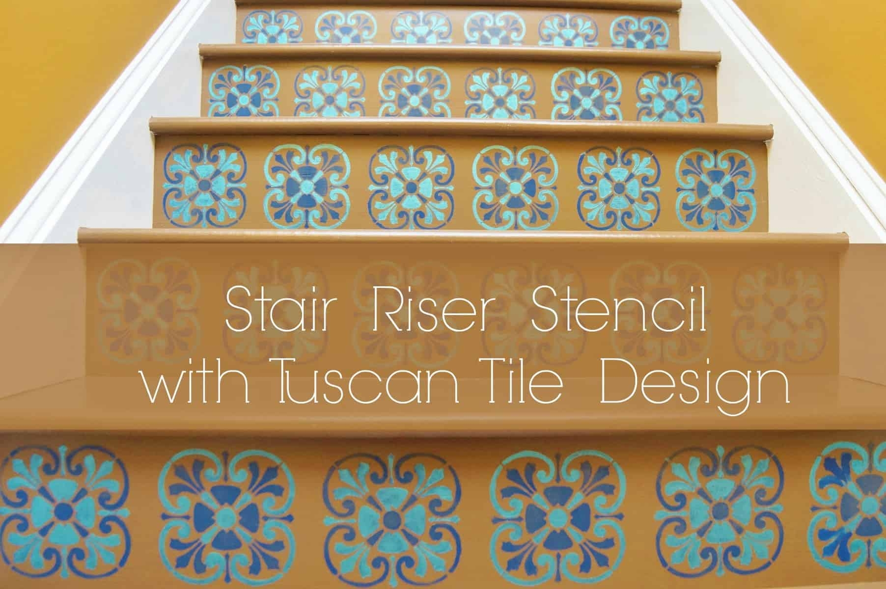 Stair Riser Stencil With Tuscan Tile Design Heartwork   Stair Riser Tiles Designs