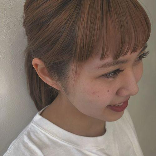 "..new staff古川さん の eyelash.marron × khaki mix ︎."" eyelist @__ememr "".#HEARTY eyelash"