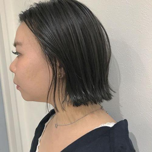 担当シオリ @shiori_tomii 切りっぱなしBOBにカーキグレージュを#hearty#shiori_hair #カーキグレージュ#グレージュ#BOB#高崎美容室#高崎
