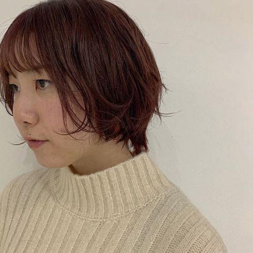 担当シオリ @shiori_tomii 赤みなピンクカラー#hearty#shiori_hair #ピンクブラウン #ピンクカラー#ショートヘア#高崎美容室#群馬美容室#高崎#群馬