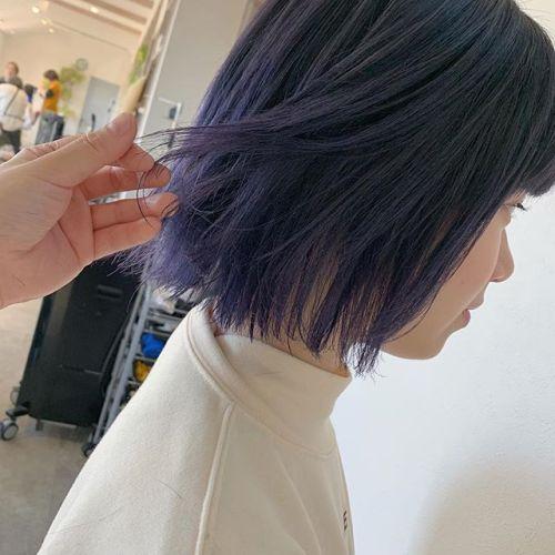 担当シオリ @shiori_tomii blue強めなlavender笠笠成人式に向けてデザインカラー増えてます♡#hearty#shiori_hair #ラベンダー#ラベンダーカラー #ブルージュ#カラーバター#BOB#切りっぱなしボブ#高崎美容室#群馬美容室#高崎#群馬