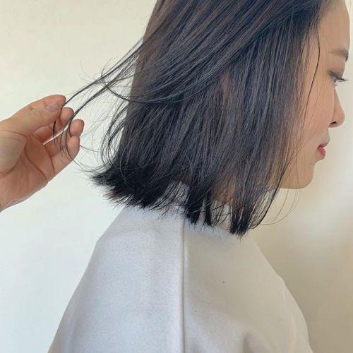 担当シオリ @shiori_tomii ディープグレーでトーンダウン#hearty#shiori_hair #ディープグレー#グレージュ#ブルージュ#切りっぱなしボブ#ボブ#高崎美容室#群馬美容室#高崎#群馬