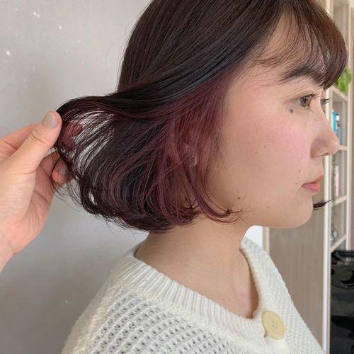 担当シオリ @shiori_tomii 最近インナーカラー推しですピンクが春っぽくてかわいい〜#hearty#shiori_hair #インナーカラー#ピンクブラウン #カラーバター#ボブ#高崎美容室#群馬美容室#高崎#群馬
