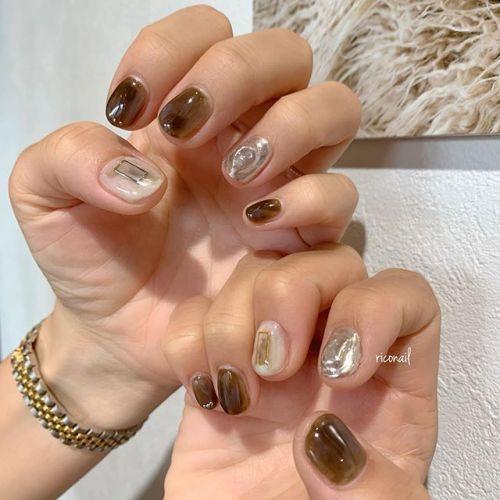 brown❁#riconail #HEARTY #abond #nail #nails #gelnail #gelnails #nailart #instanails #nailstagram #beauty #fashion #nuancenail #ネイル #ジェルネイル #ネイルケア #ニュアンスネイル #個性派ネイル @riconail123
