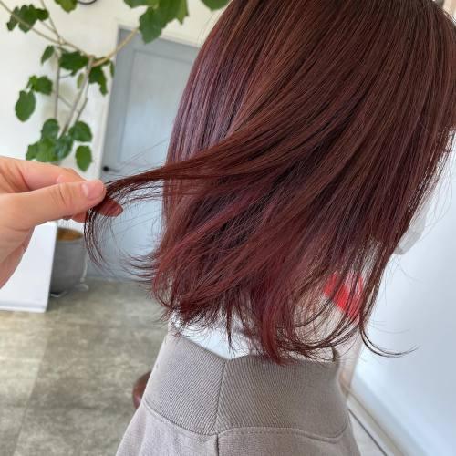 担当シオリ @shiori_tomii レッドピンク🦩#hearty#shiori_hair #ピンクブラウン #ディープピンク#ピンクヘアー #ピンクカラー #高崎美容室#群馬美容室#高崎#群馬