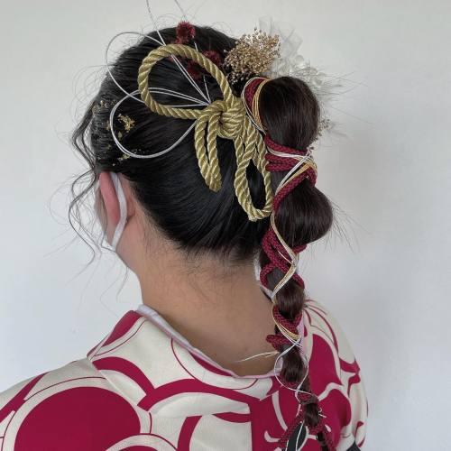 担当シオリ @shiori_tomii 卒業式ヘアセット#hearty#shiori_hair #卒業式ヘアセット#卒業式ヘア #成人式ヘア #成人式 #成人式ヘアセット #金箔ヘア #紐アレンジ #着物ヘア #高崎美容室#群馬美容室#高崎#群馬