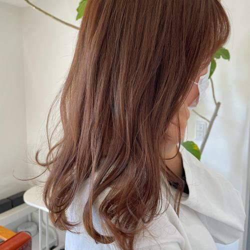 担当シオリ @shiori_tomii オレンジベージュ♡柔らかく女性らしい色味#hearty#shiori_hair #オレンジベージュ#オレンジカラー #オレンジブラウン #高崎美容室#群馬美容室#高崎#群馬