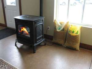 freestanding pellet stove with pellet bags