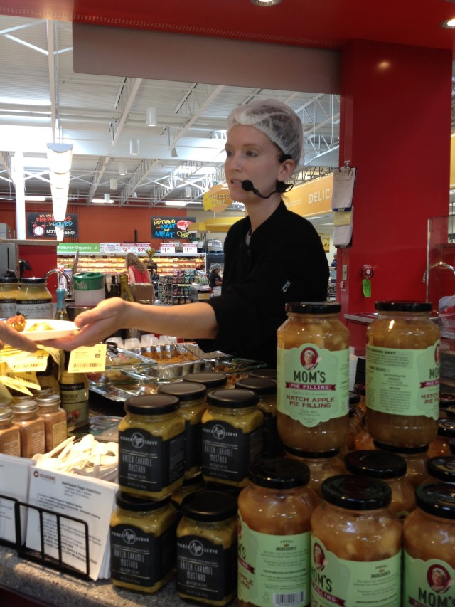 One of two in-store chefs that are always cooking up good stuff. (And there's the Mom's Hatch Apple Pie Filling.)